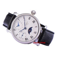 42mm PARNIS white dial Moon Phase GMT hand winding movement mens watch