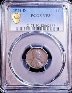 1914-D Lincoln Cent PCGS VF30 Premium Quality Good Surfaces Just Graded G640
