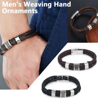 Men Women Leather Titanium Steel Braided Clasp Magnetic Bangle Bracelet Jewelry