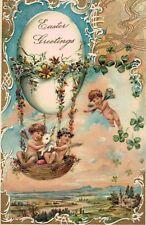 Vintage,Embossed,Easter Postcard,Egg as Balloon,Cherubs,Shamrocks,PFB,c.1909
