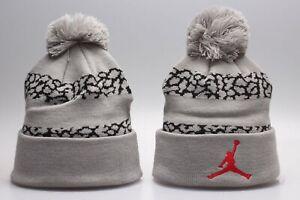 Michael Jordan Jumpman Winter Knit Beanie Cuffed POM Adult Unisex Gray