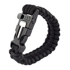 Black Bracelet Outdoor Survival Equipment Flint Fire Starter Scraper Whistle EPS