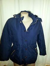 Navy Blue Faux Fur Hoodie Removeable Hooded Parka Coat Jacket Zip Front Size 16