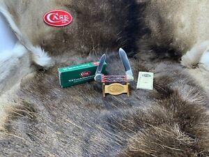 2000 Case Silver Script Canoe Knife Jigged Cranberry Bone Handles Mint Box - 83B