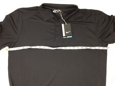 Nike Golf Stretch Dri-Fit NWT S/S Black Polo Shirt Sz Large