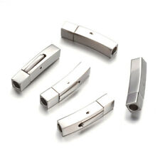 304 Stainless Steel Bayonet Clasps Cuboid for Leather Cord 28x6x7mm Hole 4mm