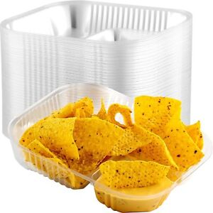 Anti-Spill Plastic Nacho Trays 50 Pk. Disposable 2 Compartment Boats Great...