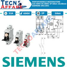 Portafusibile Sezionatore 32A 690V DC 800V 50kA 2Poli Siemens 3NC1092