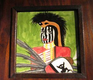 "Zulu African Warrior Art Tile Painting Encased in 8"" Solid Wood Frame Trivet"