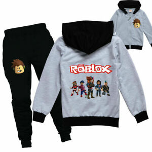 Boys Girls ROBLOX Zip Hooded Top Outfit Sports Set Tops+Pants Tracksuit