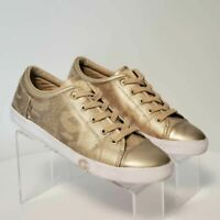 G By Guess Womens Size 10 Oona 13 Fashion Sneakers Shoes Gold Snake Print LowTop
