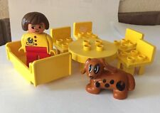 Lego Duplo Brick House Home Kitchen Table Chair Yellow Lady Dog Bed Set