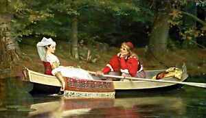 With the River by English Painter Philip Hermogenes Calderon. Repro on Canvas