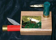 Inox Italy Knives Two Shotgun Shell Knives W/Decorative Hardwood Block Display