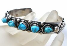 Sterling Silver Cuff Bracelet with Blue Turquoise Gemstones Hand Wrought Vintage