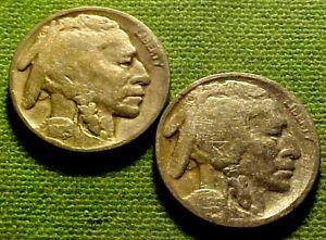 1925-P & 1925-S Buffalo Nickel Five Cent 5c   ~ NICE LOT OF TW0 (2) COINS  40GA