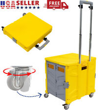 Foldable Utility Cart Portable 4Wheel Rolling Crate Handcart for Travel Shopping