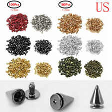 100pc Cone Metal Spikes Punk Rivets Screwback Studs for Leather Shoes Jacket Bag