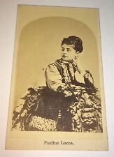Rare Antique Victorian Austrian Opera Singer! Pauline Lucca Performer CDV Photo!