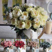 1 Bouquet Camelie Artificiale Peonia Rosa Fiori Seta Finto Floreale Casa
