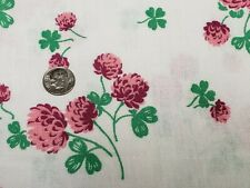 Best Vintage Feedsack Quilt Fabric 40s Pink Floral 4 Leaf Clover Flour Sack