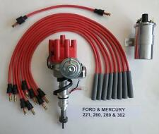 FORD 221-260-289-302  RED Small Female HEI Distributor+45K Coil+Spark Plug Wires