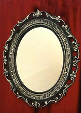 Espejo de pared Ovalado Barroco Negro Plata Antiguo marco 58x68 art3041