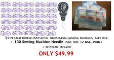 50 Bobbins (Sa156) for Brother+100 needles 15x1,size 12 + 25 needle threader usa