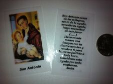 SMALL HOLY PRAYER CARDS FOR SAN ANTONIO IN SPANISH SET OF 2