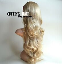 CUTTING HAIR Blonde Mix 3/4 Wig Long Curly Layered Half Wig Hairpiece 016-27/613