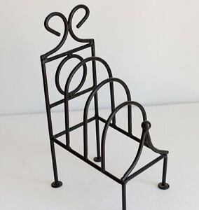 Primitive Country Rustic Black Wrought Iron Folk 4 Plate Frame Holder Kitchen