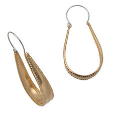 """Gold Tone Large Hoop Dotted Edge Textured Pierced Earrings 1 7/8"""""""