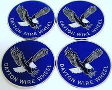 "Dayton Wire Wheels Set Of 4 Blue & Chrome Metal Eagle Emblems Size 2.38"""