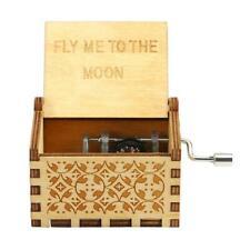 Vintage Wooden Music Box Antique Hand Crank Clockwork Engraved Toys Decor Gifts