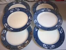 Unboxed Flow Blue Transfer Ware Pottery Dinner Plates