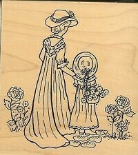 GREAT IMPRESSIONS Rubber Stamp Woman/Lady & Girl/MOTHER & DAUGHTER Love Flowers