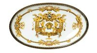 "Euro Porcelain 10"" White Oval Fruit Serving Platter Greek Key Medusa 24K Gold"