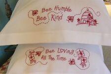 Bird Brain Designs BEE HUMBLE~BEE KIND RedWork Pillowcase Embroidery Pattern 613