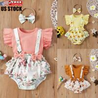 US 3Pcs Newborn Baby Girl Outfits Summer Tops Shorts Headband Set Infant Clothes