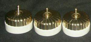 VINTAGE BRASS & CERAMIC 2 WAY SWITCH BUTTONS 3 DESIGN AND 3 PLAIN (SET OF 6)