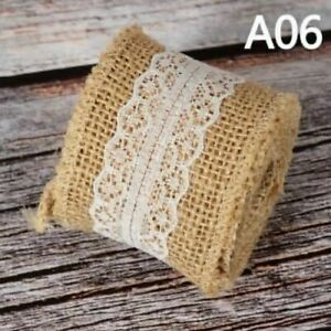 2M Jute Lace Ribbon Burlap Roll Wedding Deco Party DIY Gift Packing Crafts Retro