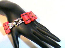 Red Large Stone Bracelet with ornate magnetic closure