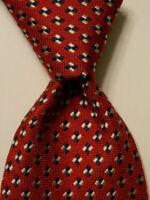 BREUER Men's 100% Silk Necktie FRANCE Luxury Designer Geometric Red/Blue EUC