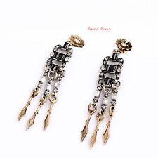 Rose & Peony British Fashion Statement Earrings Bronze Silver Dangling