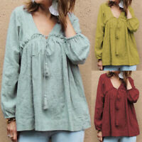 Women V Neck Casual Long Shirt Tops Loose Oversize Loose Blouse Jumper Tops Plus