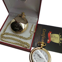 ELVIS PRESLEY Signed Pocket Watch 24k Gold Plated Full Hunter Luxury Gift Case