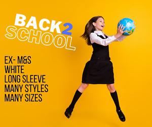 exM&S Girls Long Sleeve Blouse School Uniform Shirt White Many Sizes & Styles