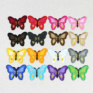 2/50Pc Butterfly Patches Sew on Iron On Embroidered Clothes Patch Applique Badge