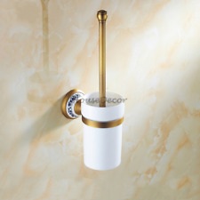 Wall Mounted Brass Bathroom Toilet Brush & Holder Bath Cleaning Set WC Accessory