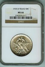 NGC MS 66 1935-D Texas Commemorative Silver Half Dollar.  Low Mintage!